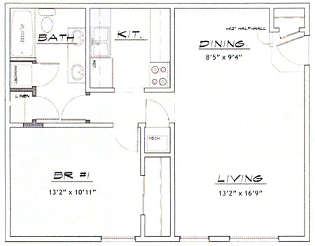 One-bedroom floorplan